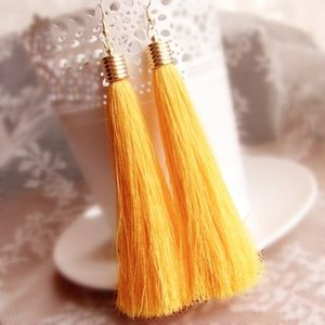 PREVIEW!! Boho Yellow Tassel Statement Earrings